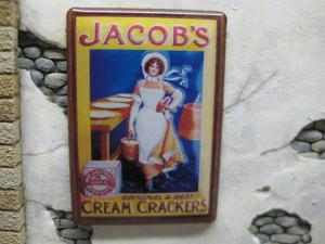 "Reality in Scale Enamel Ad Sign ""Jacob's"""