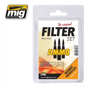 Ammo Mig Jimenez Desert Vehicles, Filter set 3x30ml.