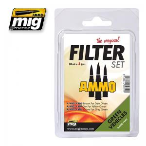 Ammo Mig Jimenez Green Vehicles, Filter set 3x30ml.