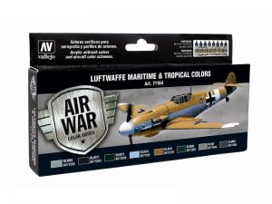 Vallejo Model Air Paint Set (8), Luftwaffe Maritime and Tropical Colors.