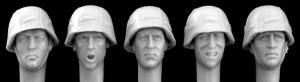 Hornet Models 5 heads with German Army Style Camo Helmet covers WWII