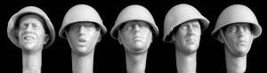 Hornet Models 5 Heads Wearing British Mk III helmets 1944/80's