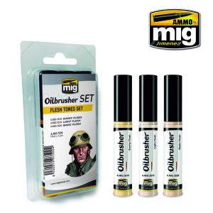 Ammo Mig Jimenez Oil Brusher, Flesh Tones set