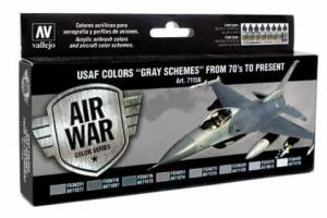 "Vallejo Model Air - Paint Set (8), USAF Colors ""Grey Schemes"" From 70's to Present."