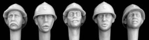 Hornet Models 5 French Heads WWI pattern Adrian helmets