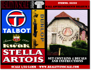 Reality in Scale Wall Advertisement Decals 1930's - 1950's - Belgium set 2 - 4 pcs.