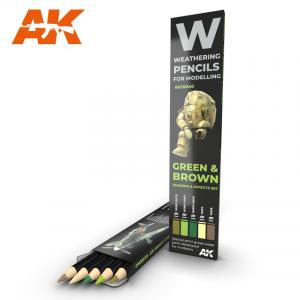 AK Interactive WATERCOLOR PENCIL SET GREEN AND BROWN CAMOUFLAGES