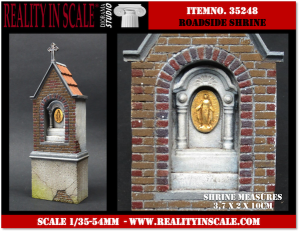 Reality in Scale Roadside Shrine - 2 resin pcs. & flowers