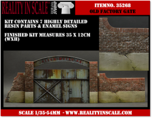 Reality in Scale Old Factory Gate - 7 resin pcs. and signs
