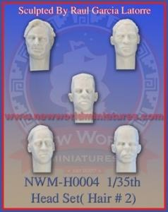 New World Miniatures 5 heads with hair