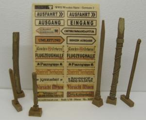 Reality in Scale Wooden Signs WWII - Germany Set 1 - 22 signs printed on real wood & 6 resin