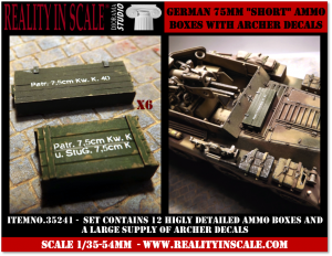 Reality in Scale German 75mm Short ammo boxes - 12 resin pieces and Archer decals