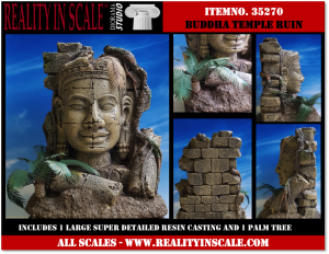 Reality in Scale Ruined Buddha Temple - large single casting. Incl.a small ground palm tree