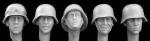 Hornet Models 5 heads wearing German helmets