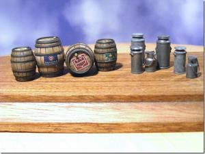 Reality in Scale Beer Barrels & Milk Churns - 10pcs. Incl. decals