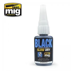 Ammo Mig Jimenez BLACK SLOW DRY CYANOACRYLATE