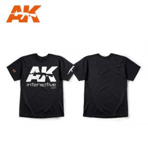 "AK Interactive AK OFFICIAL T-SHIRT BLACK (WHITE LOGO) size ""M"""