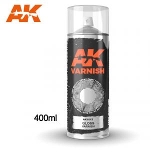 AK Interactive Gloss Varnish - Spray 400ml (Includes 2 nozzles)