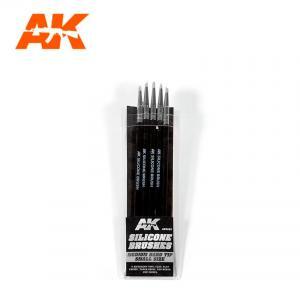 AK Interactive Silicone Brushes - Medium Tip, Medium (5 pcs)