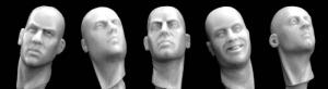 Hornet Models 5 Different Bare Heads with Necks turned sideways
