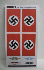 Reality in Scale German War Flags & Vehicle Pennants WWII - 12 Decals