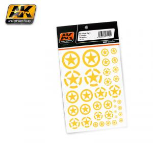 AK Interactive US YELLOW STARS IN CIRCLES ALL SCALES