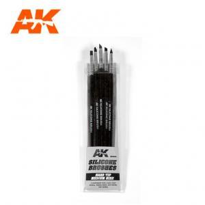 AK Interactive Silicone Brushes - Hard Tip, Medium (5 pcs)