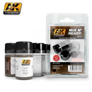AK Interactive MIX N READY - Enamel (4 Empty 35ml jars WHITH LABELS)