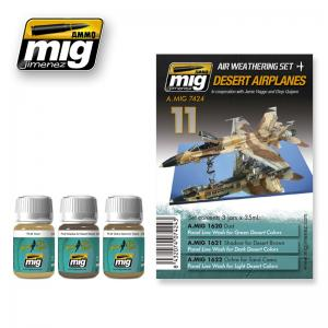 Ammo Mig Jimenez Desert Airplanes, Weathering set 3,35ml.