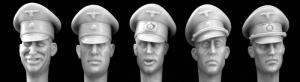 Hornet Models 5 German Officer heads wearing Schirmutze cap SS and Army