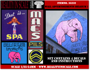 Reality in Scale Wall Advertisement Decals 1930's - 1950's - Belgium set 1 - 4 pcs.