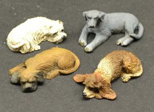 Reality in Scale Lazy Dogs - 4 resin dogs