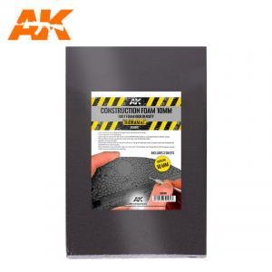 AK Interactive CONSTRUCTION FOAM 10MM BLACK FOAM HIGH DENSITY 195X295MM INCLUDES 2 SHEETS