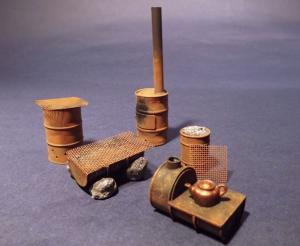 Reality in Scale Improvised Drum Stoves WWII - 10 resin pcs. & wire mesh