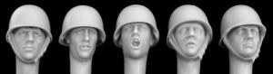 Hornet Models 5 Heads wearing French M51 steel helmet