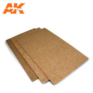 AK Interactive CORK SHEETS - FINE GRAINED - 200 x 300 x 1-2-3mm (3 SHEETS)
