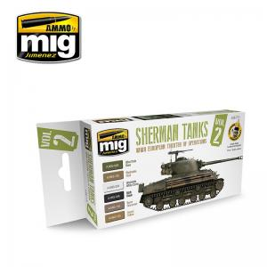Ammo Mig Jimenez Sherman Tanks Paint Set, Vol 2 - WWII European Theatre of Operations