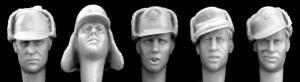 Hornet Models 5 Heads wearing German WWII Cold weather caps visors/peaks