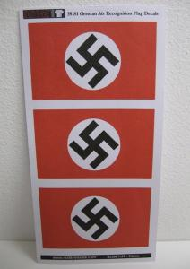 Reality in Scale German Air Recognition Flag WWII - 3 Decals