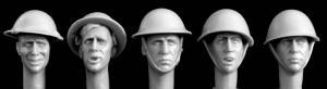 Hornet Models 5 heads wearing British helmets, MKII and MKIII