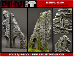 Reality in Scale Ruined Clock Tower - 2resin pcs.