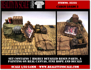 Reality in Scale Cargo Loads Set 3 - 7 resin pcs. decals, fine rope & painting on real canva