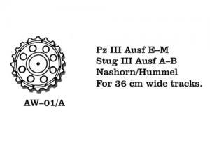 Friulmodel PzKpfw. III Ausf. E-M/ StuG III Ausf. A-B/Nashorn/Hummel - Drive Sprockets for 3