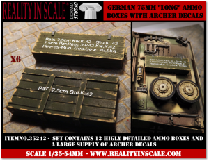 Reality in Scale German 75mm Long ammo boxes - 12 resin pieces and Archer decals
