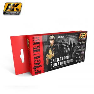 AK Interactive PANZER CREW BLACK UNIFORMS COLORS SET