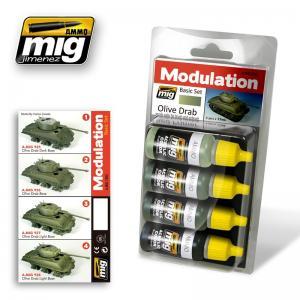 Ammo Mig Jimenez Olive Drab, Modulation set 4x17ml.