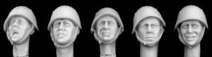 Hornet Models 5 Heads wearing WWII Italian Helmets