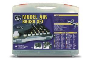 Vallejo MODEL AIRBRUSH SET, BASIC COLORS (29) + AIRBRUSH