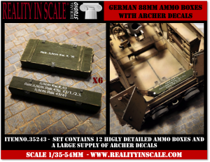 Reality in Scale German 88mm ammo boxes - 12 resin pieces and Archer decals