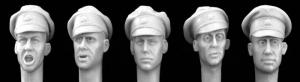 Hornet Models 5 Heads with German SS Officer crushed caps